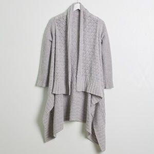 Cynthia Rowley Gray Open Knit Draped Cardigan